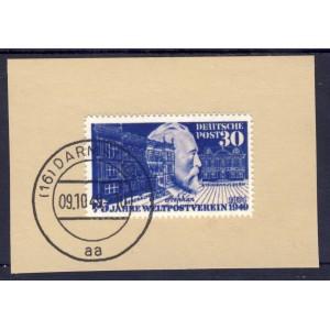 BRD 1949 Nr. 116 auf Briefstück mit Erstagsstempel Darmstadt REPLICA