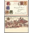 Dt. Kolonien Marschall-Inseln MiNr. 1.I-4I auf E - Postkarte