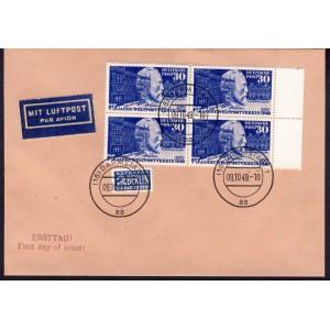 Bund 1949 Nr. 116 Viererblock auf FDC Brief Ersttagsstempel Darmstadt Replica